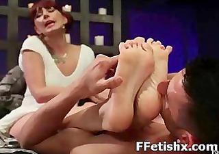 perverted babe enchanting fetish foot licking
