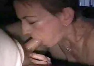 mature chick gags on her husbands dick